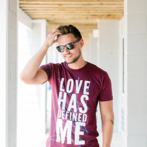 """Love Has Defined Me"" Maroon Unisex T-Shirt"